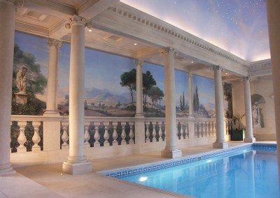 Classical Pool Garden Scene