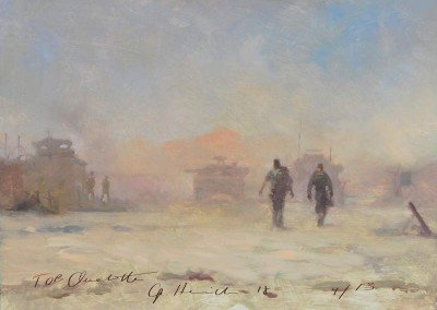 FOB Ouelette painting by MIchael Alford British Army Helmand Guardsmen Op Herrick