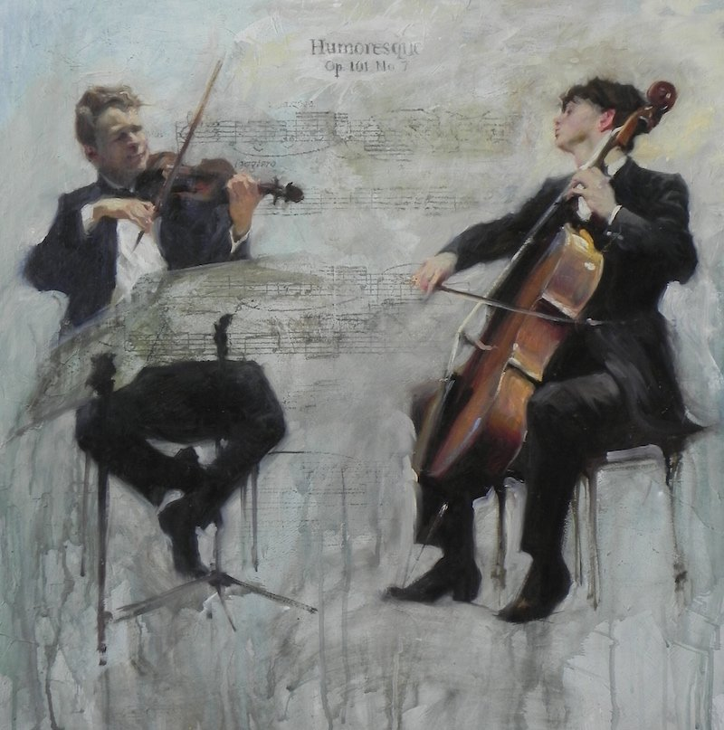 hunoreque painting of two classical musicians by Michael alford