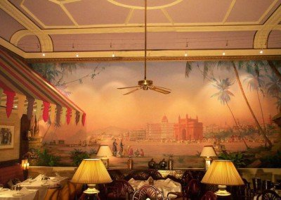 Mural in Bombay Brasserie by Michael Alford