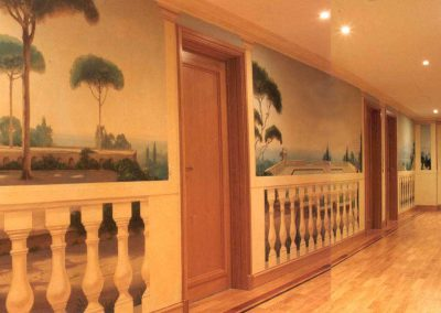 Classical Landscape Mural in Corridor, Private Residence