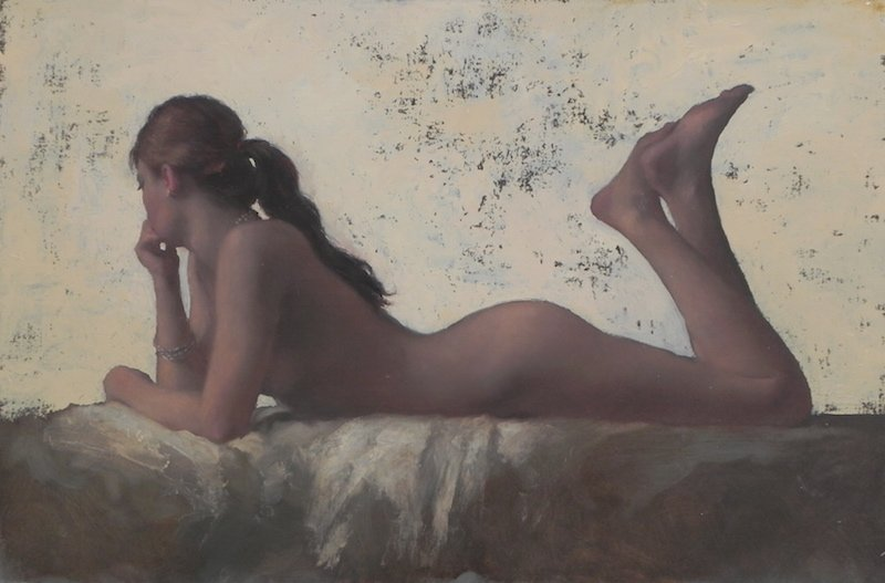 Painting of Nude Reclining Gold background by Michael Alford