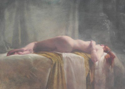 "<Span style=""font-size: 30px; color: #ff3300;"">•</span>Nude on Ochre Cloth  30x24"