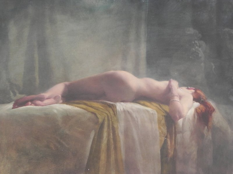 painting nude on ochre cloth with triton by Michael Alford