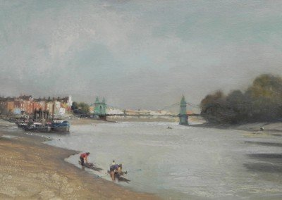 michael alford painting of rowers on teh river in london