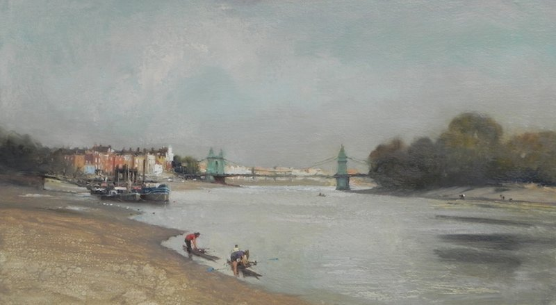 painting of Rowers on teh thames at hammersmith by Michael alford