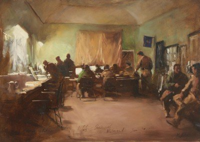 painting by michael alford of the operations room in Helmand Afghanistan British Army Helmand Guardsmen Op Herrick