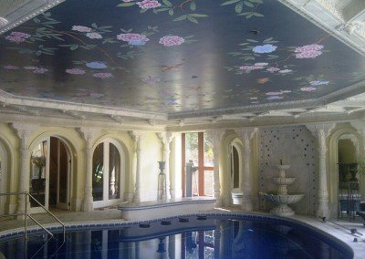 Silver ceiling for pool with peonies by Michael Alford