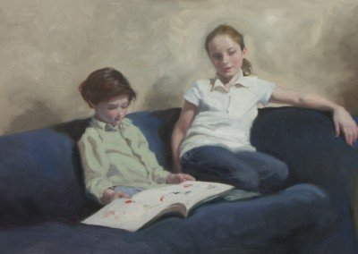 two children seated on a blue sofa painting by michael alford