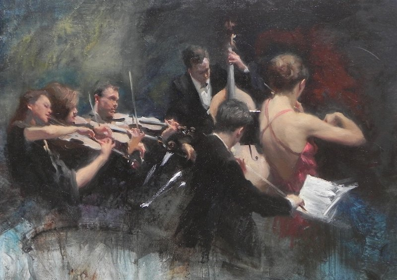 Michael alford oil painting string section