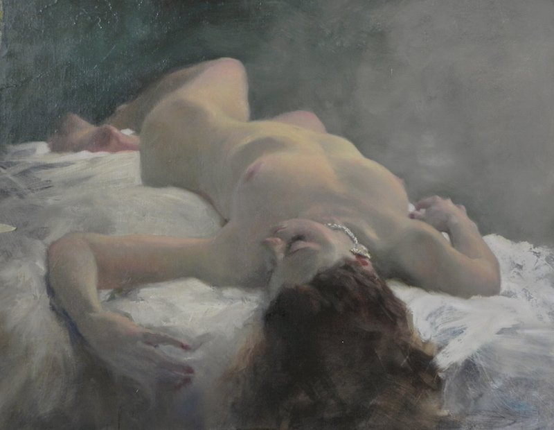 painting of a reclining nude female gilded age 2 study by Michael Alford