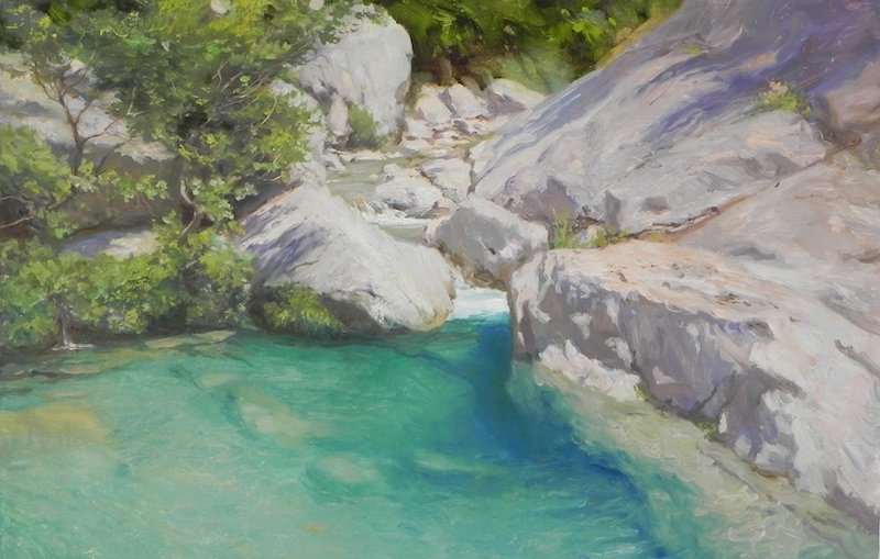 painting by michael alford of a landscape river and swimming hole near tortella