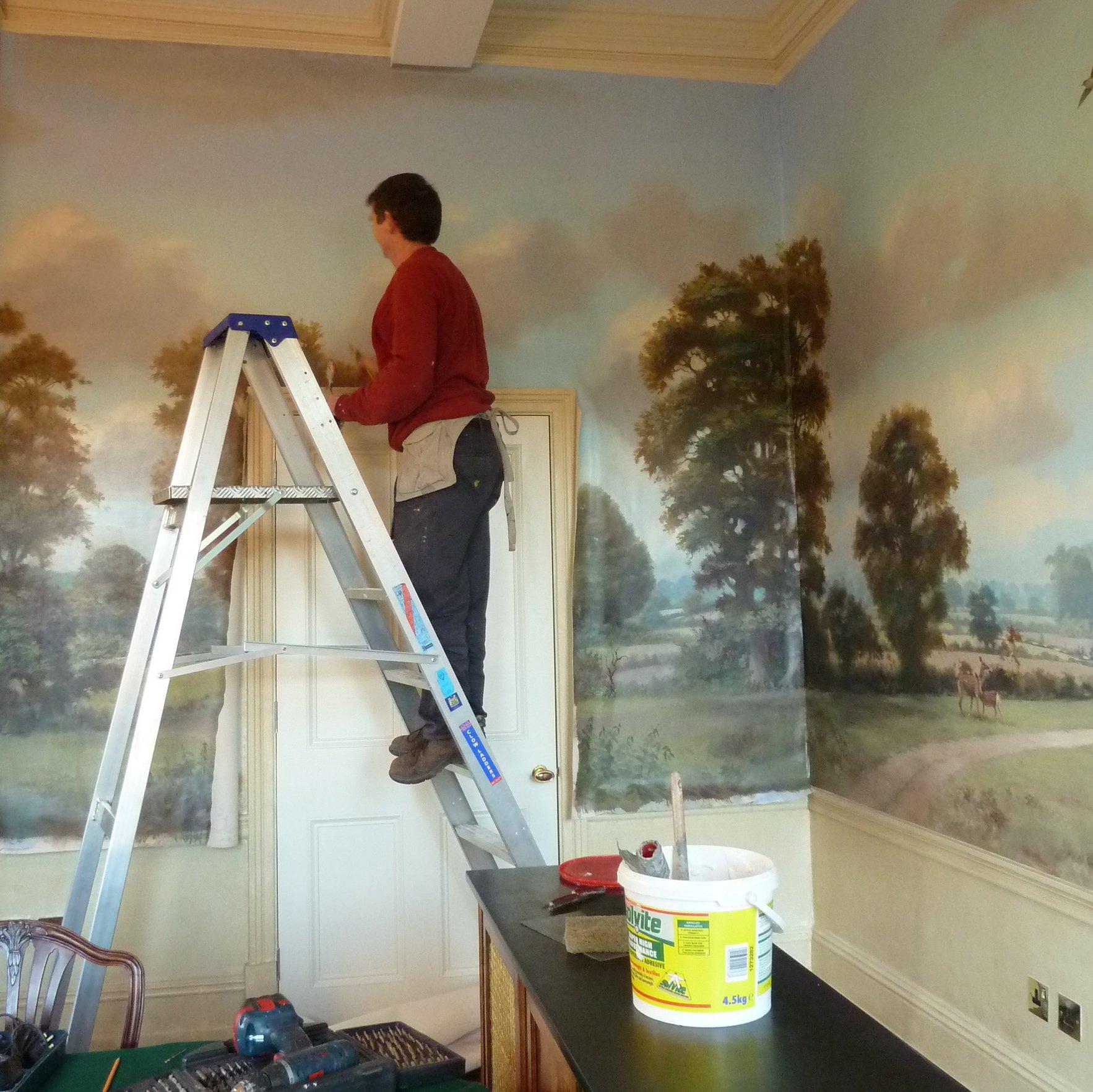 finishing the mural