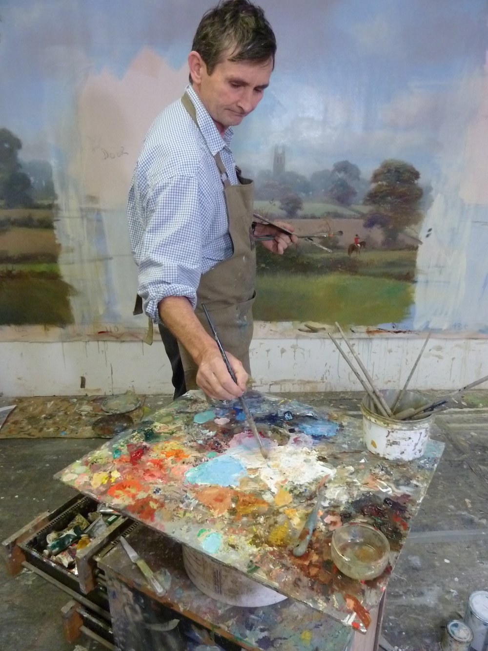 michael alford in the studio with palette