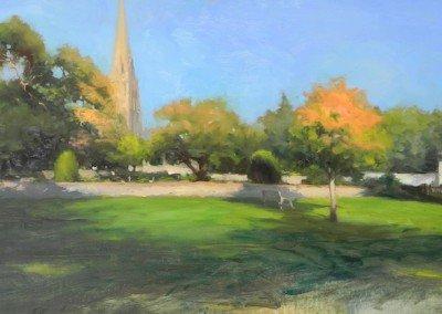 Churchyard, Wimbledon oil sketch by Michael Alford