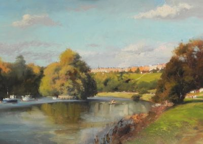 Richmond from Petersham Meadows oil painting bt Michael Alford