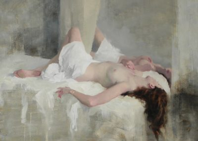NUde White sheets painting by Michael Alford
