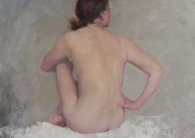 "<Span style=""font-size: 30px; color: #ff3300;"">•</span>Nude on White, Glancing Right  24x24"