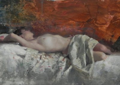 Nude Reclining on Embroidered Fabric painting by Michael Alford