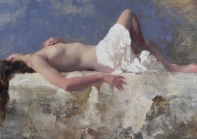 Sleeping Nude Blue and White 1