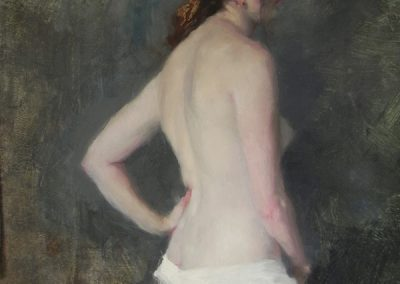 Standing Nude White Cotton Drape