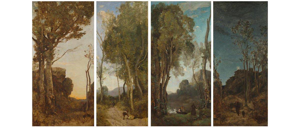 Four Panels Times of Day by Camille Corot