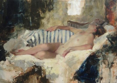 Nude Reclining Striped Cotton 1