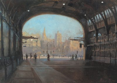An image of a painting of Smithfield market by Michael Alford