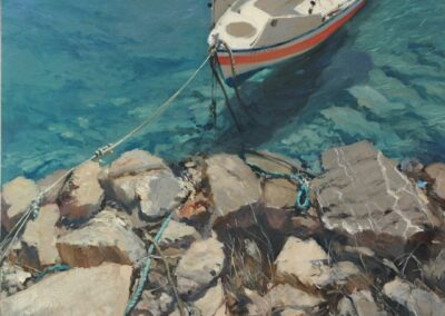 a painting by michael alford of a boat in the Med