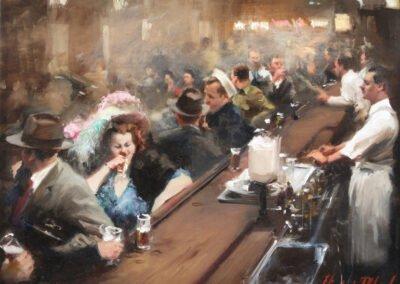 post war 1 painting of world war II pub scene michael alford