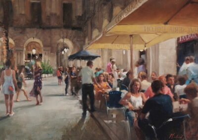Painting Barcelona Placa Reial by Michael Alford