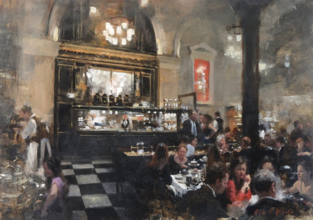 Oil Painting of the London restaurant, the Wolseley by Michael Alford