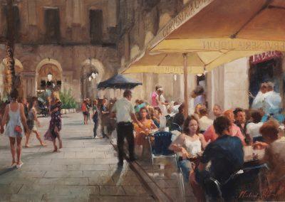 Barcelona Placa Reial street scene by Michael Alford