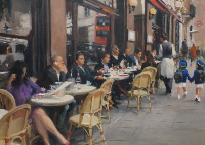 Cafe Colbert 2 painting of a city scene by Michael Alford