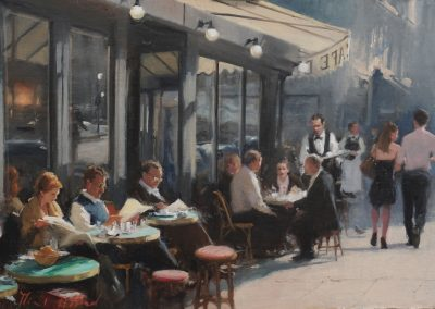 Cafe Colbert citys scene painting by Michael Alford