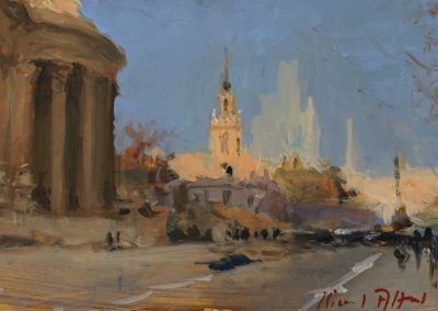 cannon street oil sketch of london by michael alford