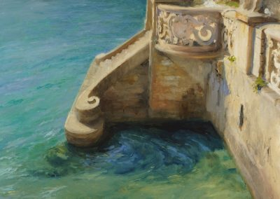 architectural detail of landing stage at lake como by michael alford