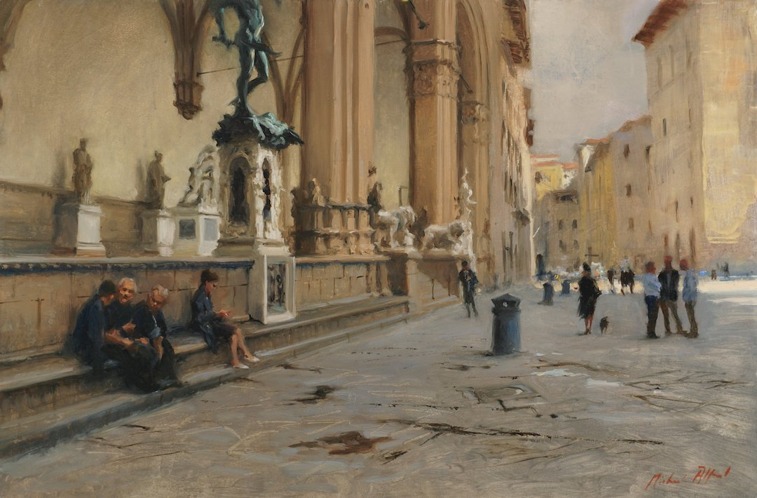piazza della signoria after rain florence painting by michael alford