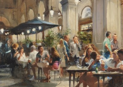 Spanish cafe scene painting by michael Alford