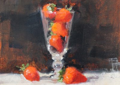 still life strawberries 1 oil sketch by michael alford