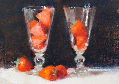 still life strawberryies oil sketch by michael alford