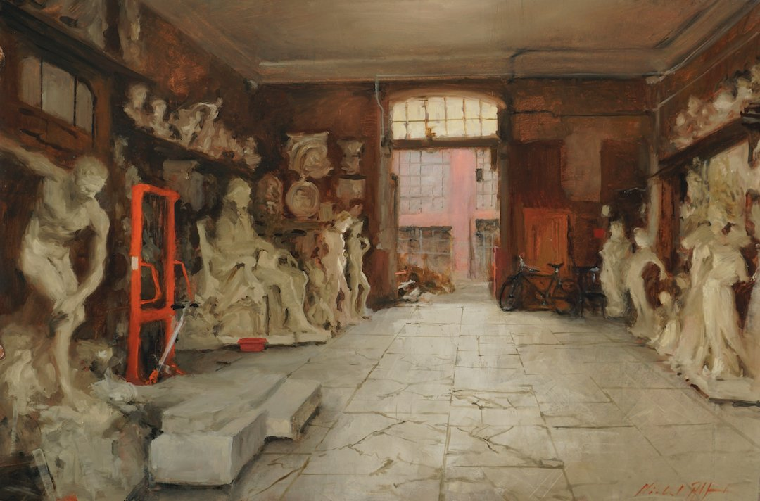 Stonemasons workshop painting by michael alford