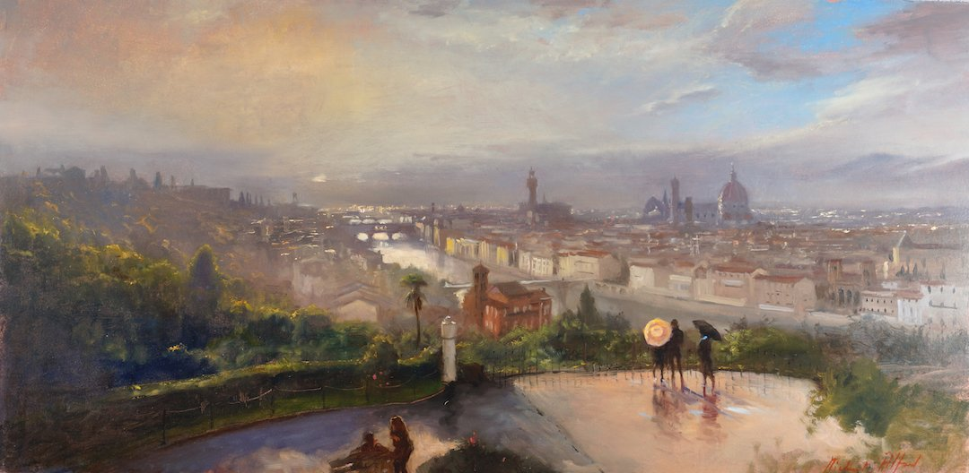 painting of florence storm passing by michael alford