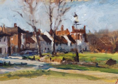 Wimbledon common west place oil sketch by michael alford